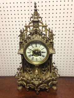 beautiful french bronze cathedral mantle clock movement signed japy freres