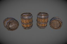 Old Barrel created for Warmachine: Tactics - Low Poly Textured Model, Andrew Prince on ArtStation at https://www.artstation.com/artwork/old-barrel-created-for-warmachine-tactics-low-poly-textured-model