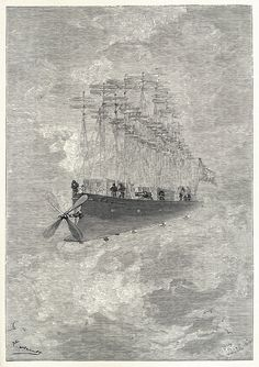 The clipper of the clouds. Illustration by Léon Benett, from The clipper of the clouds (AKA Robur the Conqueror), by Jules Verne, London, 1887. Via archive.org.