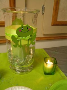Ks frog-themed shower: center-piece candles Cool if was a monkey Candle Centerpieces, Baby Shower Centerpieces, Baby Shower Decorations, Boy Baby Shower Themes, Baby Boy Shower, Shower Party, Shower Gifts, Frog Bathroom, Frog Baby Showers
