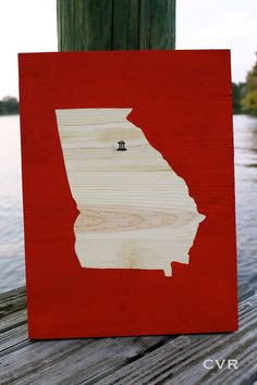 Go Dawgs! Perfect for home or dorm. State Art Wooden Athens Georgia by ChevvyandRons on Etsy, $40.00