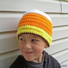 Free Crochet Pattern - Kids Candy Corn Beanie