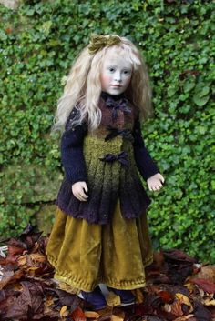 Roche Doll - Lillian in green velvet skirt and waistcoat