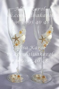 Beach wedding champagne glasses destination wedding flutes starfish accessories #AlisaKarol