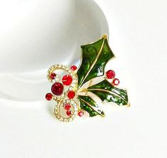 Vintage Christmas Pin Holly Brooch Red Rhinestones by retrogroovie