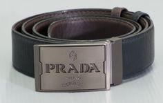 New Mens Prada Leather Belt in Black.$60.00