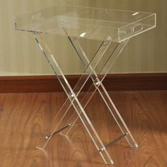 Folding Clear Acrylic Table- 19 x 23-in