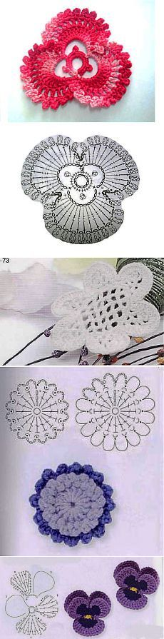 Floral motifs hook that can be used to decorate the finished products.  Scheme.  | Without Templates