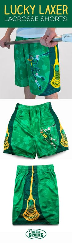 "Are you looking for a lucky charm this St. Patrick's Day? Play with the ""luck o' the Irish"" with our popular #lacrosse shorts"