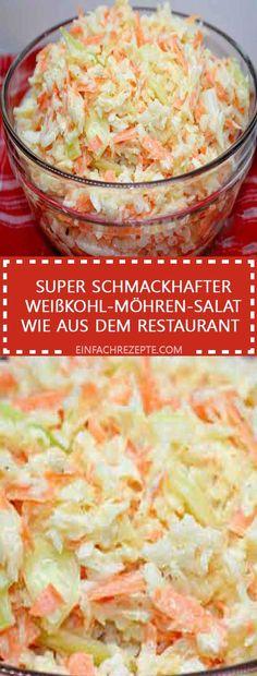 Super schmackhafter Weißkohl-Möhren-Salat wie aus dem Restaurant Super tasty white cabbage and carrot salad like from the restaurant Secret Sauce Recipe, Lucky Food, Benefits Of Potatoes, Potato Juice, Best Pasta Salad, Carrot Salad, Different Recipes, How To Cook Pasta, Salads