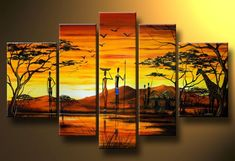 Triptych Wall Art, Canvas Wall Art, Multi Canvas Painting, African Art Paintings, Lion King Art, Africa Art, African American Art, Wall Art Designs, Art Projects
