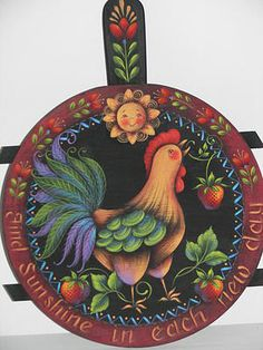 Painting Folk Art Pieces with patterns that anyone can paint. These folk art patterns are by Rosemary West. Rooster Painting, Rooster Art, Tole Painting, Artist Painting, Rooster Decor, Art Pictures, Art Images, Canal Boat Art, Rosemary West