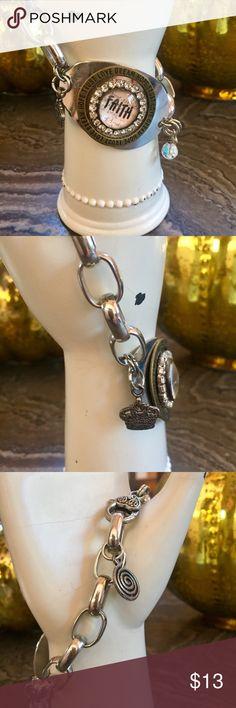 Faith Charm Bracelet Costume jewelry, silver, bronze, chunky chain, small charms, Jewelry Bracelets