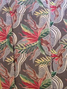 "Mid-century vintage tropical barkcloth fabric remnants -  ""Amoeba Pond""."