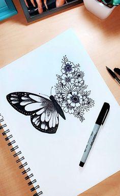 Art Drawings Sketches Simple, Pencil Art Drawings, Tattoo Sketches, Sharpie Drawings, Sharpie Doodles, Tattoo Drawings, Flower Drawings, Flower Sketches, Drawings For Girls