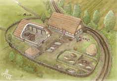 Archaeological reconstruction art by Jennie Anderson