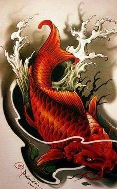 Pez Koi Tattoo, Koi Tattoo Sleeve, Japanese Sleeve Tattoos, Japanese Koi Fish Tattoo, Koi Fish Drawing, Fish Drawings, Westside Tattoo, Koi Tattoo Design, Koi Dragon