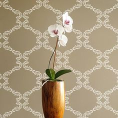 The Chelsea wall pattern from Cutting Edge Stencils! http://www.cuttingedgestencils.com/chelsea-allover-wall-pattern.html