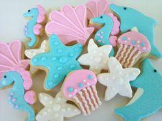 Dolphin and Sea Horse Mini Sugar Cookies- 3 dozen. $33.95, via Etsy.