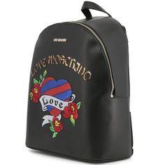 2e379dbbe9f Love Moschino Designer Black Pop Art Tatted Heart Packsack Purse-Bag -Women-Designer