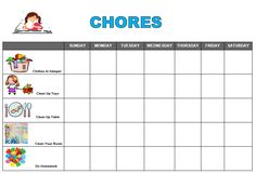 After school snack ideas + Free Printable Chore Chart