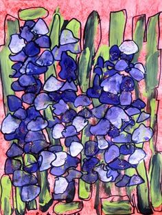 "Kindergarten Irises-We looked at a photograph of the beautiful purple iris that grows at our school and noticed that they have several shades of purple on them. Students used three shades of purple to ""dab"" their irises on top of the sword shaped leaves which they created with two shades of green. Details were added with black sharpie and silver glitter paint added the finishing touch."