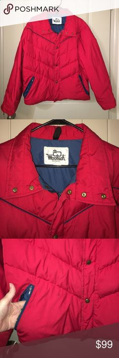 Mens Vintage Classic WOOLRICH Red Down Jacket M This is a Mens Vintage  Classic WOOLRICH Red 30522b40b14e