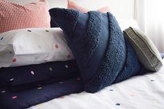 Navy feature cushion, textured navy cushion