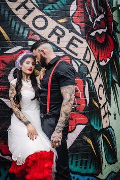 Rockabilly Groom, Rockabilly Wedding, Wedding Shoot, Wedding Themes, Punk, Tea Length Wedding Dress, Wedding Dresses, Rocker Wedding, Wedding Boxes