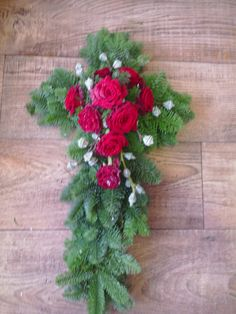 Christmas funeral tribute made by Karen Innis I. Christmas Wreaths, Christmas Crafts, Xmas, Grave Decorations, Casket Sprays, White Carnation, Funeral Tributes, Funeral Flowers, Carnations