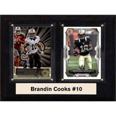 C & I Collectables NFL 6 inch x 8 inch Brandin Cooks New Orleans Saints Two-Card Plaque