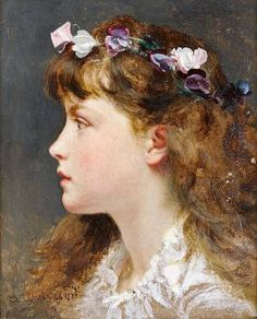 A Young Girl with a Garland of Flowers in her Hair ~ Sophie Gengembre Anderson ~ (French: 1823-1903)