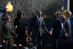. (L-R) Former first lady Laura Bush, first lady Michelle Obama, U.S. president Barack Obama, U.S. Rep John Lewis (D-GA) and former U.S.…