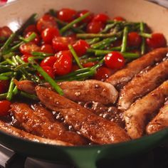 One-Pan Balsamic Chicken and Asparagus - Recipe Mom One Pot Meals, Easy Meals, Good Food, Yummy Food, Tasty Videos, Cooking Recipes, Healthy Recipes, Cooking Tv, Cooking Videos