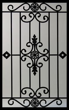 Wrought Iron Door Inserts - Dalemont Stocked by Randal's Wrought Iron & Stained Glass serving the Greater Toronto Area and surrounding areas. Grill Gate Design, Window Grill Design Modern, Balcony Grill Design, Steel Gate Design, Iron Gate Design, Iron Windows, Iron Doors, Metal Doors, Metal Gates