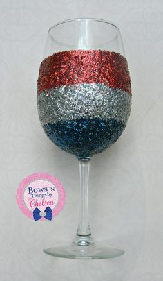 Stellabrate America's independence! Decorate some wine glasses in red, silver, and blue glitter