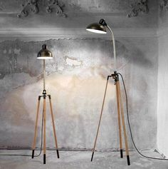 Elevate a basic clamp lamp from the hardware store with this handsome tripod stand from Etsy seller Renna Deluxe. #etsyfinds