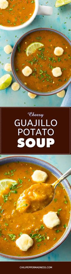 Cheesy Guajillo Potato Soup – Get your homemade potato soup with this recipe, made with earthy guajillo peppers, loads of seasoning, melty cheese, fresh lime juice and more. You're gonna want a second bowl.