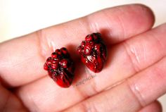 Anatomical Human Heart Polymer Clay Earrings Studs - Tiny - Doctor Physician Medical Gift - Geekery - Body Organ - Gifts Under 30 on Etsy, $20.00