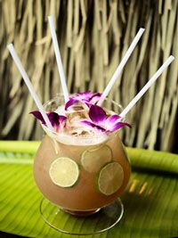Gold Coast Punch: rum, pineapple juice, lime juice, a bit of allspice syrup, and a good pour of sparkling wine! Tiki parties, here we come!  Photo by Doron Gild