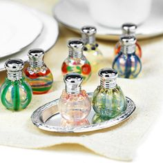 Blown glass salt and pepper shakers