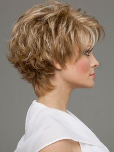 Micky by envy features lace front technology plus a mono cap for multi-directional parting freedom. Soft layering with razored edges flip out to give a spunky textured look. Style this back or off to… Short Hairstyles For Thick Hair, Short Hair With Layers, Short Hair Cuts For Women, Short Curly Hair, Bob Hairstyles, Curly Hair Styles, Short Haircuts, Virtual Hairstyles, Curly Pixie