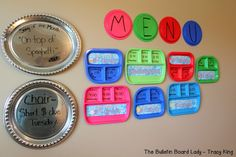 Cooking themed music class.  LOVE the repurposing of the little trays to display her class schedule.  CUTE!
