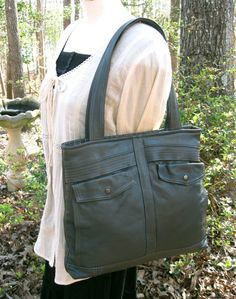 Recycled Leather Handbag in Charcoal Gray