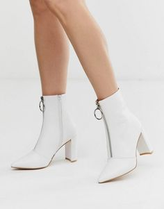 Buy Public Desire Thrill white block heeled ankle boots at ASOS. Get the latest trends with ASOS now. White Block Heels, White Heels, White Ankle Boots, Block Heel Ankle Boots, Wedding Boots, Green Wedding Shoes, Botines Peep Toe, Heeled Boots, Bootie Boots