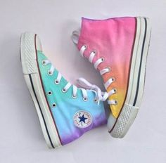 The softer side of the rainbow is here in the pastel tie dyed high top Converse! A unique hand painted pastel rainbow tie dye ombré color blend Rainbow Converse, Cool Converse, Rainbow Shoes, Custom Converse, Converse Sneakers, Custom Shoes, Diy Tie Dye Converse, Pastel Converse, Converse Tumblr