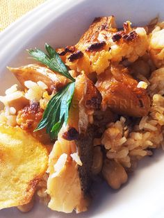 acibecheria: Bacalao + garbanzos + coliflor = arroz espectacula...