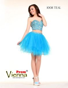 Short & poofy two piece gown with lace bodice.