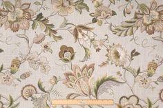 Floral/Vine Prints :: Kaufmann Brissac Printed Linen Blend Drapery Fabric in Platinum
