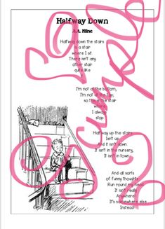 Beautiful illustrated PDF printable of A. Milne's 'Halfway Down'. Perfect addition to a poetry copy. Teacher Pay Teachers, Poems, Printables, Poetry, Print Templates, Poem